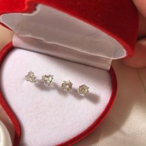 2 CZ Diamond Stud Earrings 1 Carat TW Each 🔴🔺